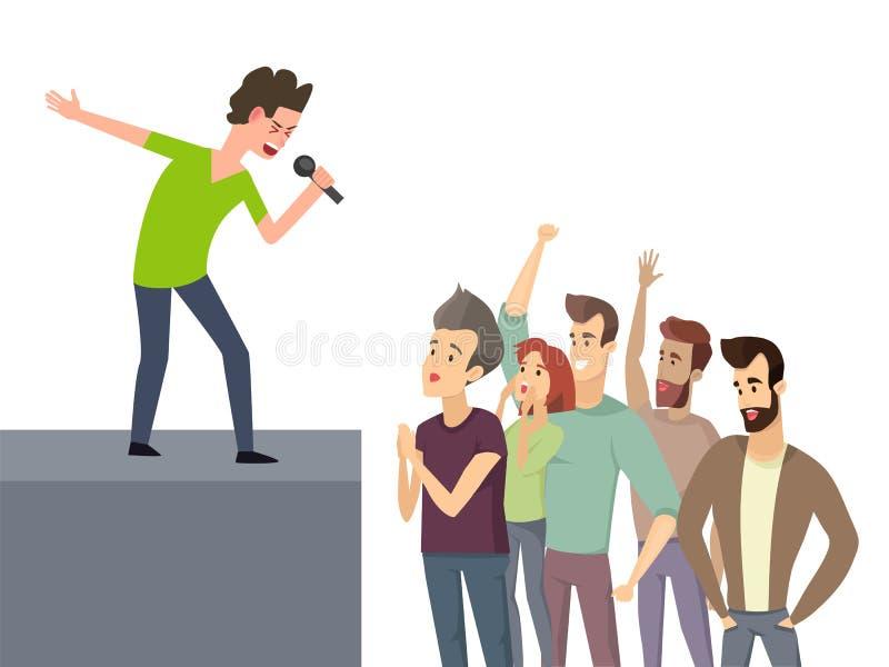 Musik-Charakter, der für Menge von Fan-Leuten durchführt stock abbildung