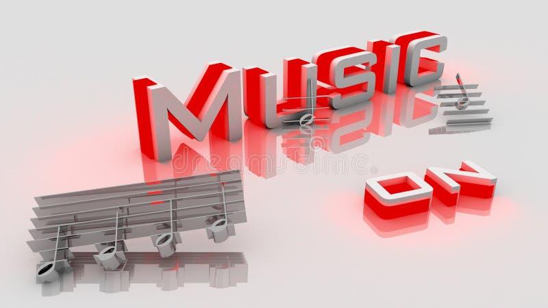 Musik an in der Illustration 3D stock abbildung