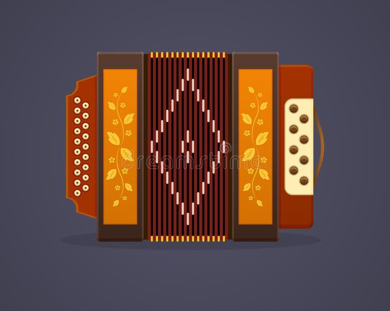 Musik der russischen Kultur Modernes Musikinstrumentakkordeon lizenzfreie abbildung