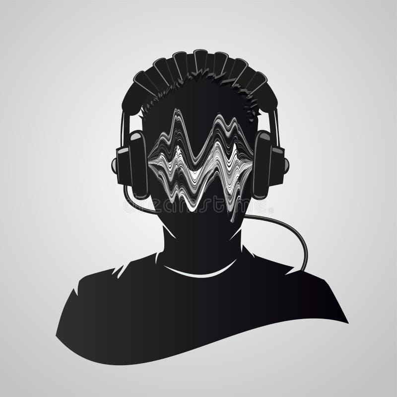 Musik dj-huvud med hörlurar Mänskligt ansikte med ljudvågor Man-musiker portrait isolerad på vitt Vektorillustration stock illustrationer