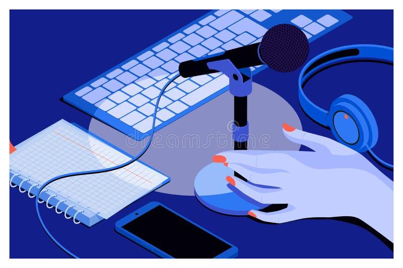 Musik- eller podcastbakgrund med hörlurar, mikrofon, anteckningsbok, tangentbord på tabellen stock illustrationer