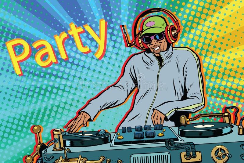 Musik för blandning för discjockeypojkeparti stock illustrationer