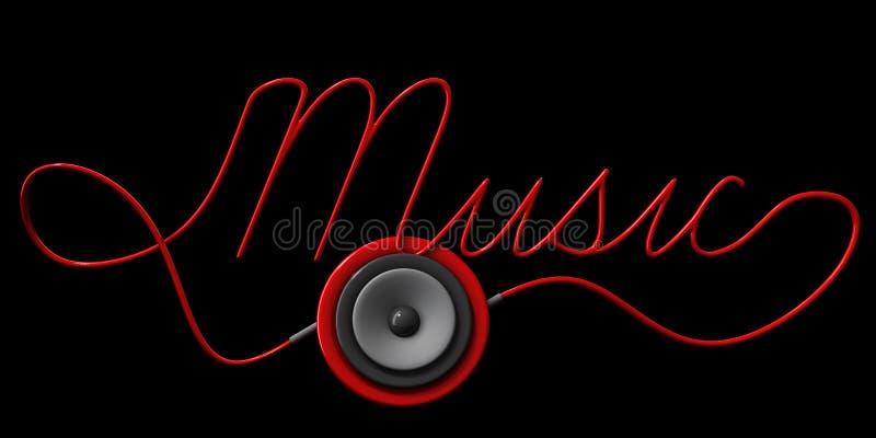 musik för högtalare och för kabel för sfär 3ds planlägger typografisk på svart royaltyfri illustrationer