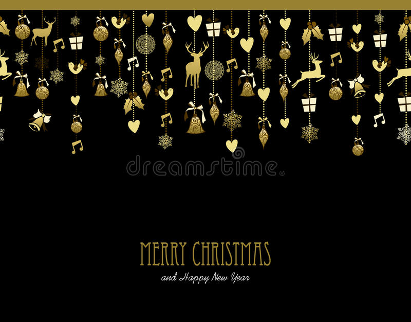 Musik för hjortar för snö för garnering för glad jul guld- stock illustrationer