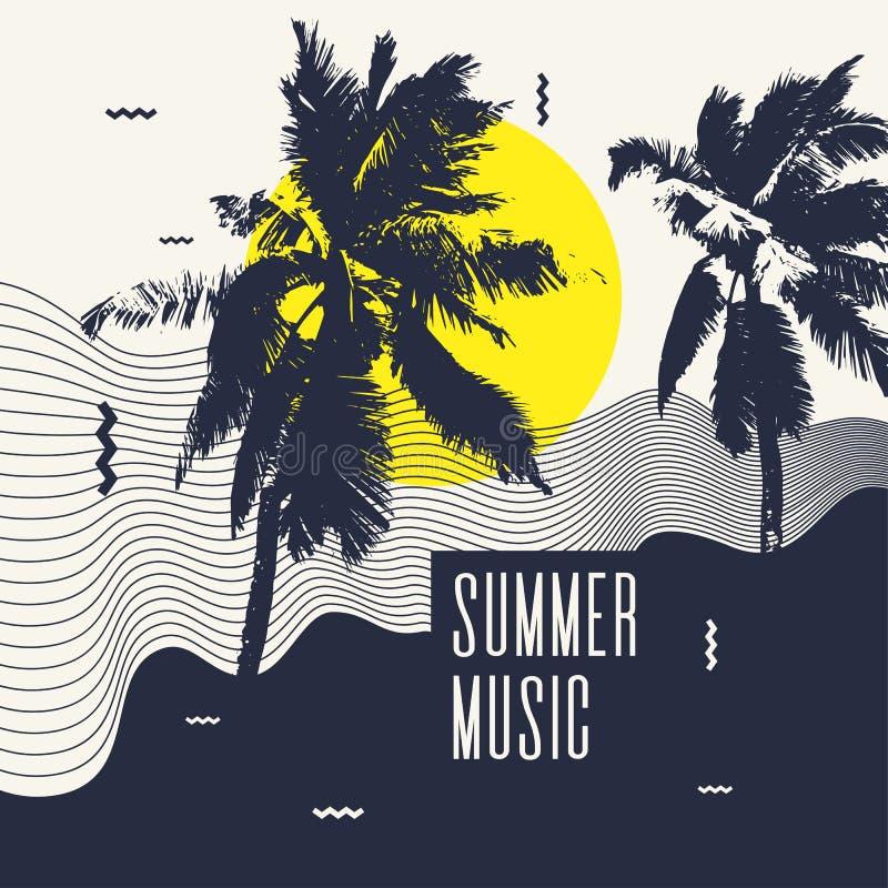 musik för illustration 3d framförde sommar Modern affisch med palmträdet royaltyfri illustrationer