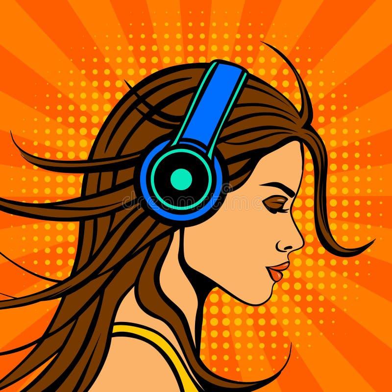 Musik för kvinna för stil för humorbok för popkonst lyssnande i hörlurar royaltyfri illustrationer