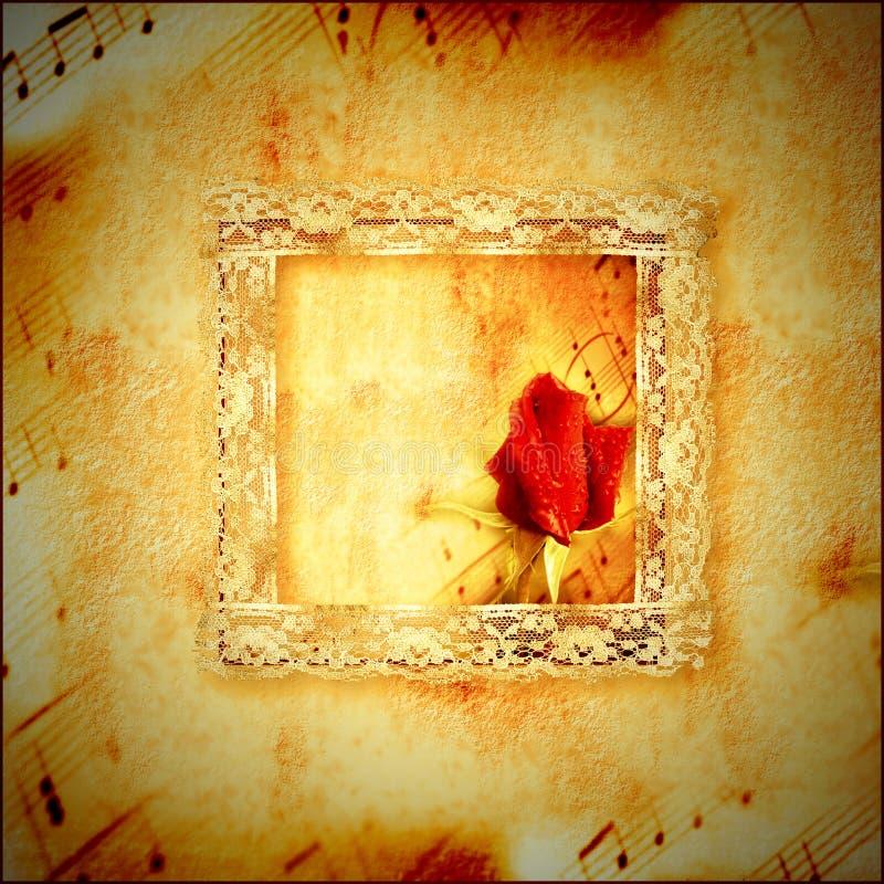 Musik för tappningkortromantiker royaltyfria foton