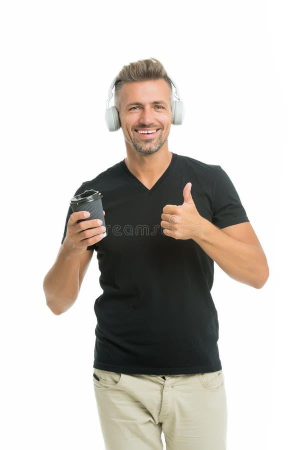 Musik f?r bra lynne Favorit- musikband Tycka om s?ng Modernt hörlurbegrepp Ljudsignalt sp?r Stilig orakad hipster för man royaltyfria foton