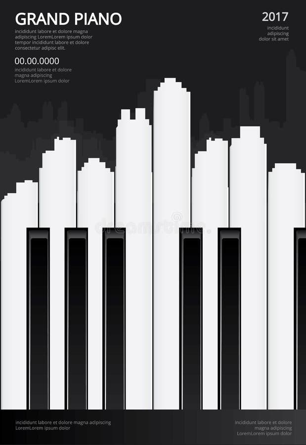 Musik-Flügels-Plakat-Hintergrund-Schablone stock abbildung