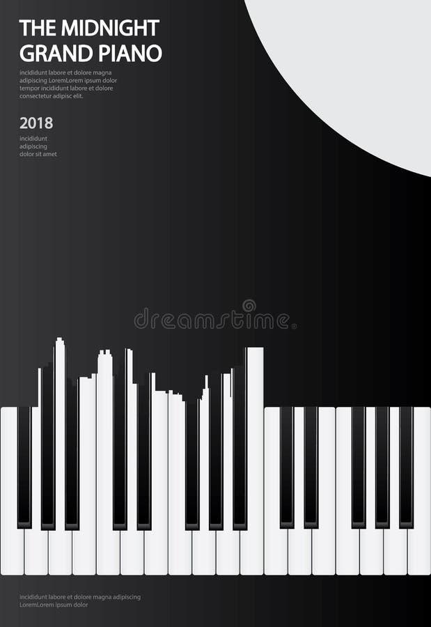 Musik-Flügels-Plakat-Hintergrund-Schablone vektor abbildung