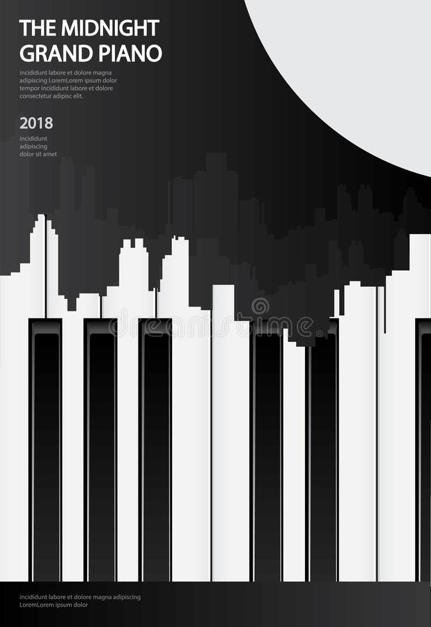 Musik-Flügels-Plakat-Hintergrund-Schablone lizenzfreie abbildung