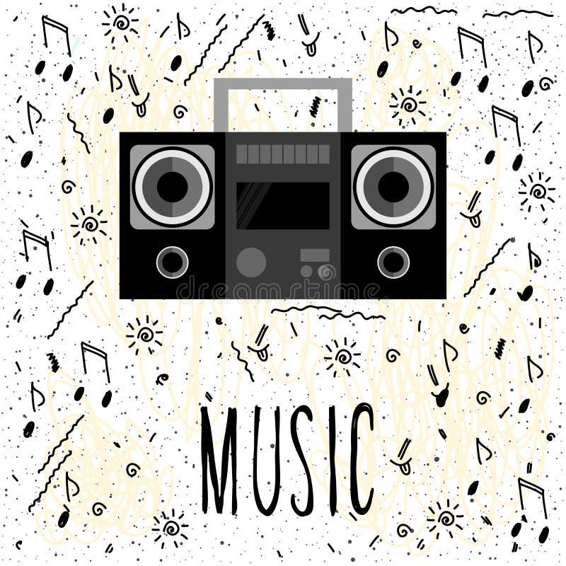 musik Handskriven bokstäver och handgjorda anmärkningar vektor illustrationer