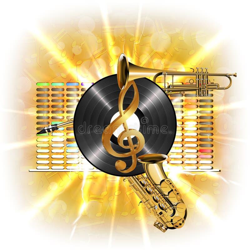 Musik im Blitz, im Violinschlüssel, im Vinylsaxophon und in der Trompete stock abbildung