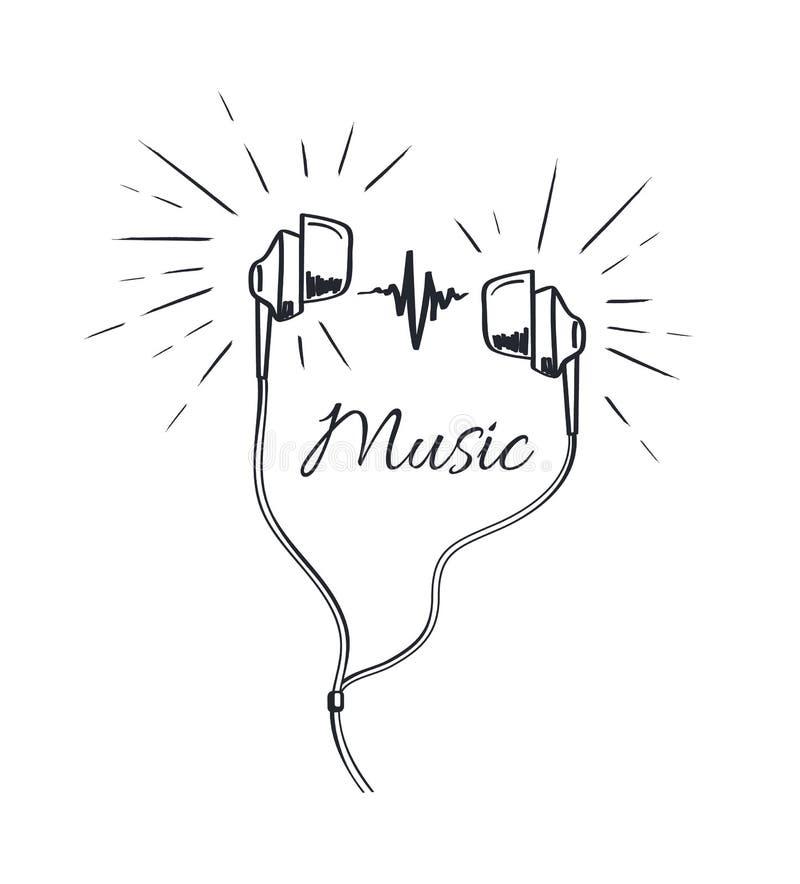 Musik-Kopfhörer mit den lauten Tönen, die Skizze spielen stock abbildung