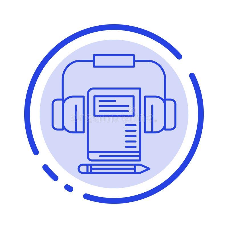Musik ljudsignal, Headphone, blå prickig linje linje symbol för bok vektor illustrationer