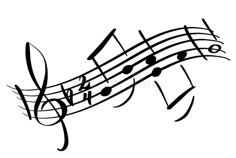 Musik merkt Gestaltungselement in der Gekritzelart Noten eine Farbillustration Handgezogenes Stück Melodie mit Höhen lizenzfreie abbildung