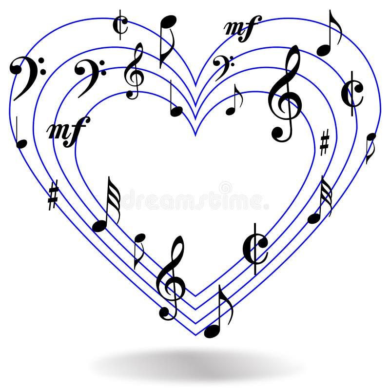 Musik merkt Herz lizenzfreie abbildung