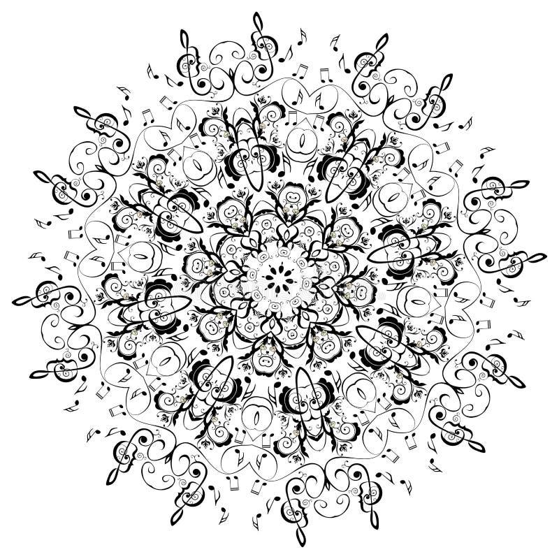 Musik merkt ringsum Blumenverzierung stock abbildung
