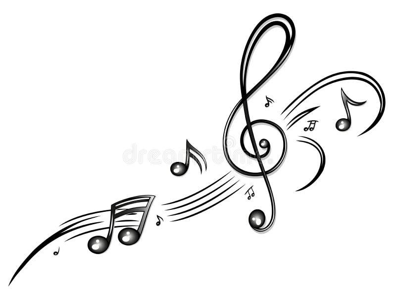 Musik, Musikanmerkungen, Notenschlüssel lizenzfreie abbildung