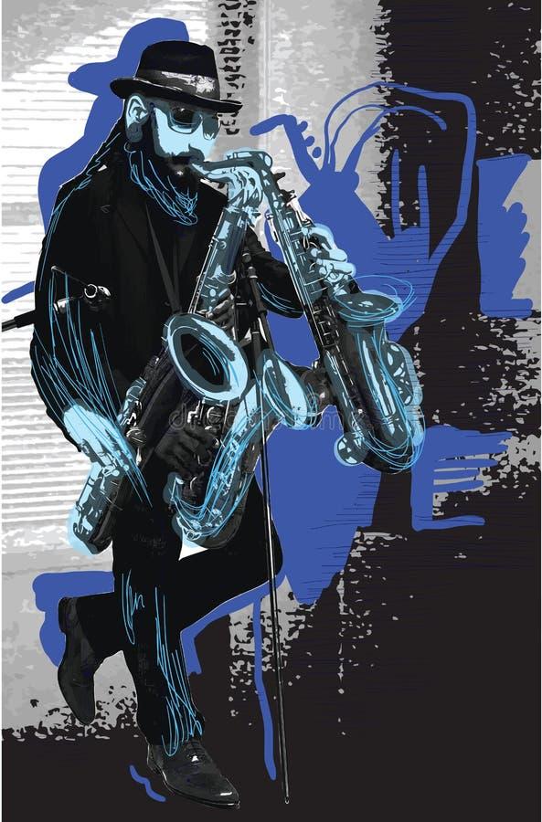 Musik, Musiker Bärtiger Saxophon-Spieler im Blau Abendstimmung Einige lizenzfreie abbildung