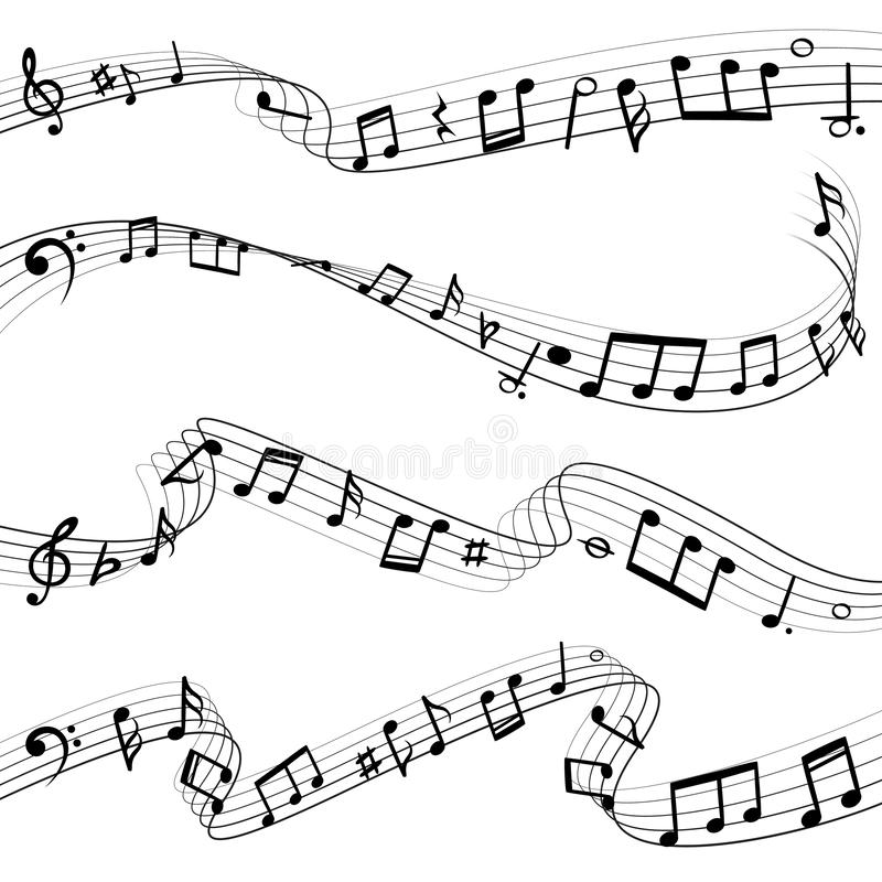 Musik noterar att flöda Tangentsammansättning för musikalisk anmärkning, melodisvartkonturer, uppsättning för musikvågvektor vektor illustrationer