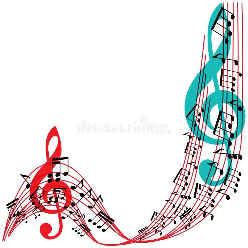 Musik noterar bakgrund, stilfull ram för musikaliskt tema royaltyfri illustrationer