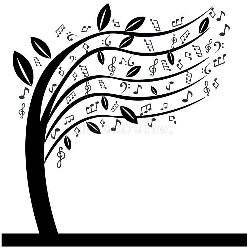 Musik noterar trädet royaltyfri illustrationer