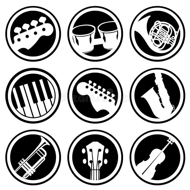 Musik- och instrumentvektorer stock illustrationer