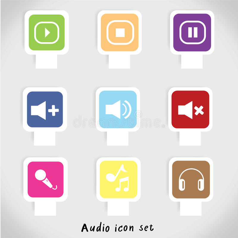 Musik- och ljudsymboler också vektor för coreldrawillustration royaltyfri fotografi