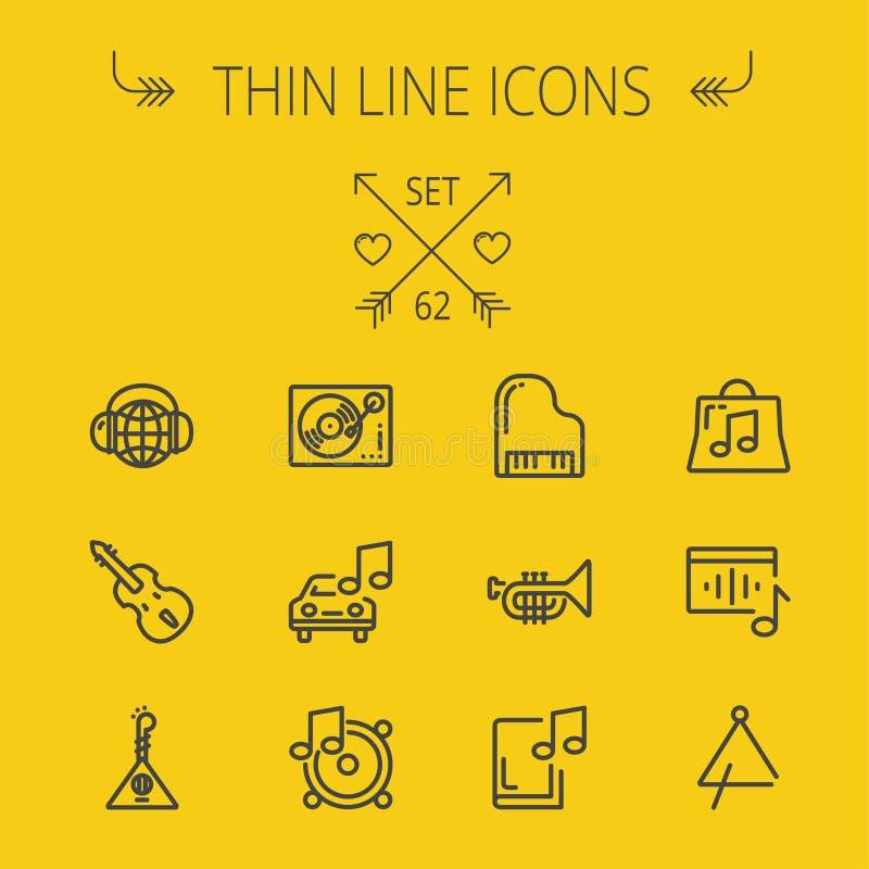 Musik och tunn linje symbolsuppsättning för underhållning royaltyfri illustrationer