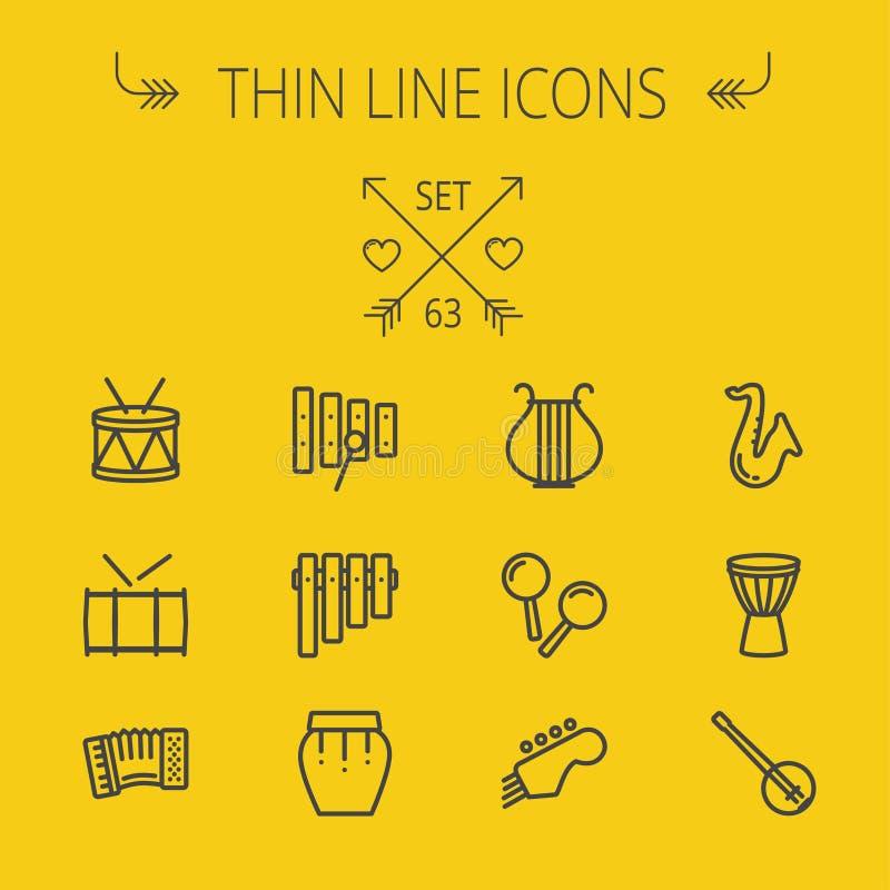 Musik och tunn linje symbolsuppsättning för underhållning stock illustrationer