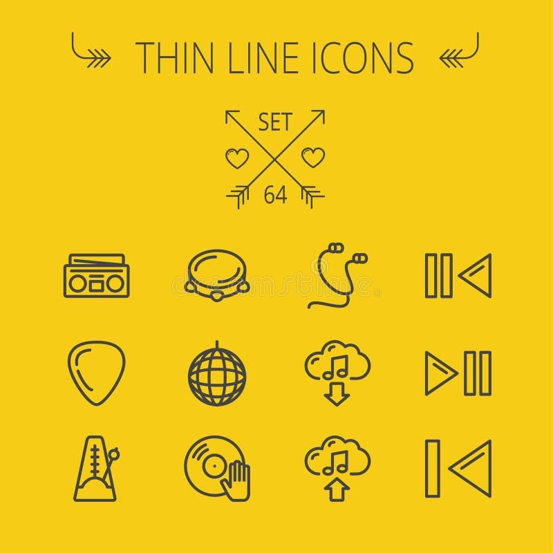 Musik och tunn linje symbolsuppsättning för underhållning vektor illustrationer