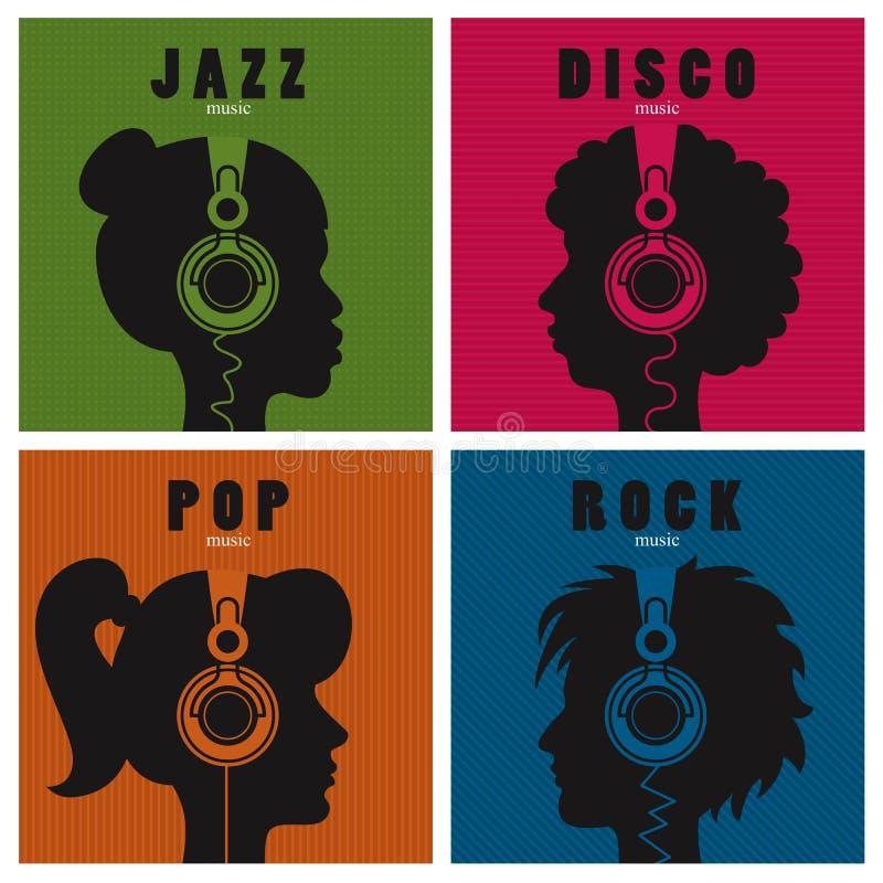 Musik och variation stock illustrationer