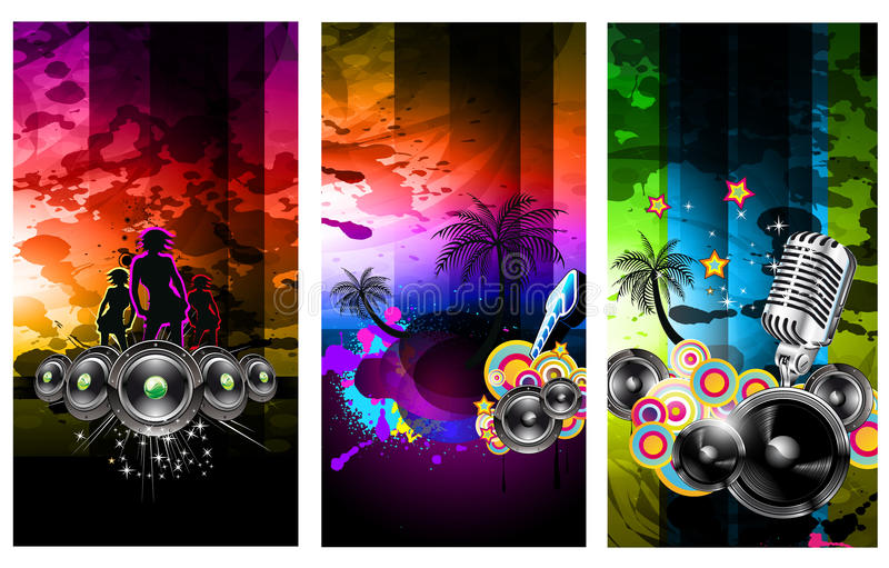 Musik-Party-Disco-Flugblatt-Set lizenzfreie abbildung