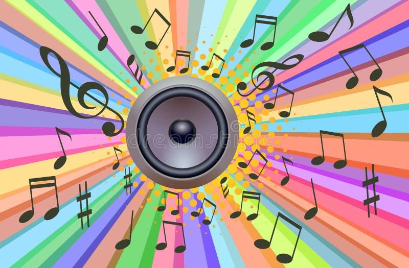 Musik-Retro- Sprecher mit Ray Light-Hintergrund vektor abbildung