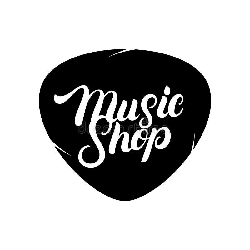 Musik-Shophand geschrieben, Logo, Aufkleber, Ausweis, Emblem beschriftend stock abbildung