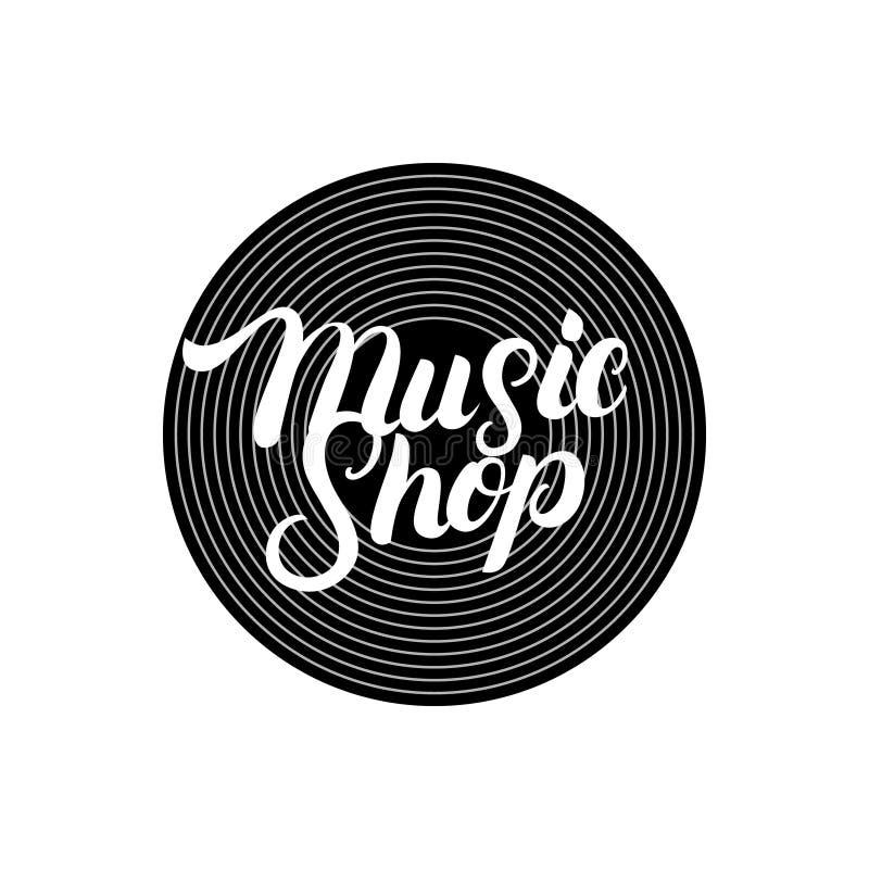 Musik-Shophand geschrieben, Logo, Aufkleber, Ausweis, Emblem beschriftend vektor abbildung