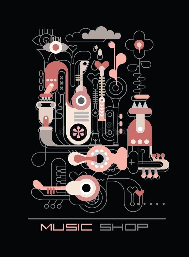 Musik shoppar stock illustrationer