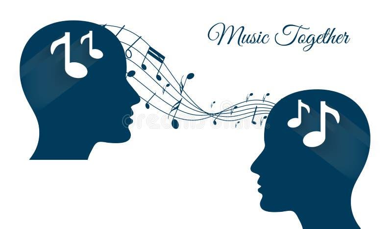 Musik tillsammans och att dela musik, musikhjärnor, musikvän vektor illustrationer