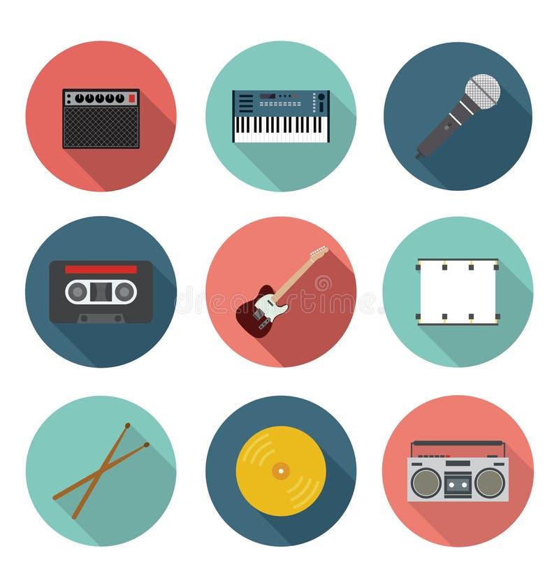 Musik-und Unterhaltungs-flacher Ikonen-Satz lizenzfreie stockfotografie