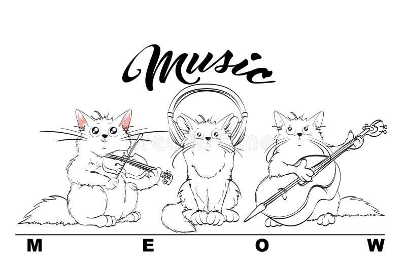 musik Vektoruppsättning av gulliga vårkatter orkester vektor illustrationer