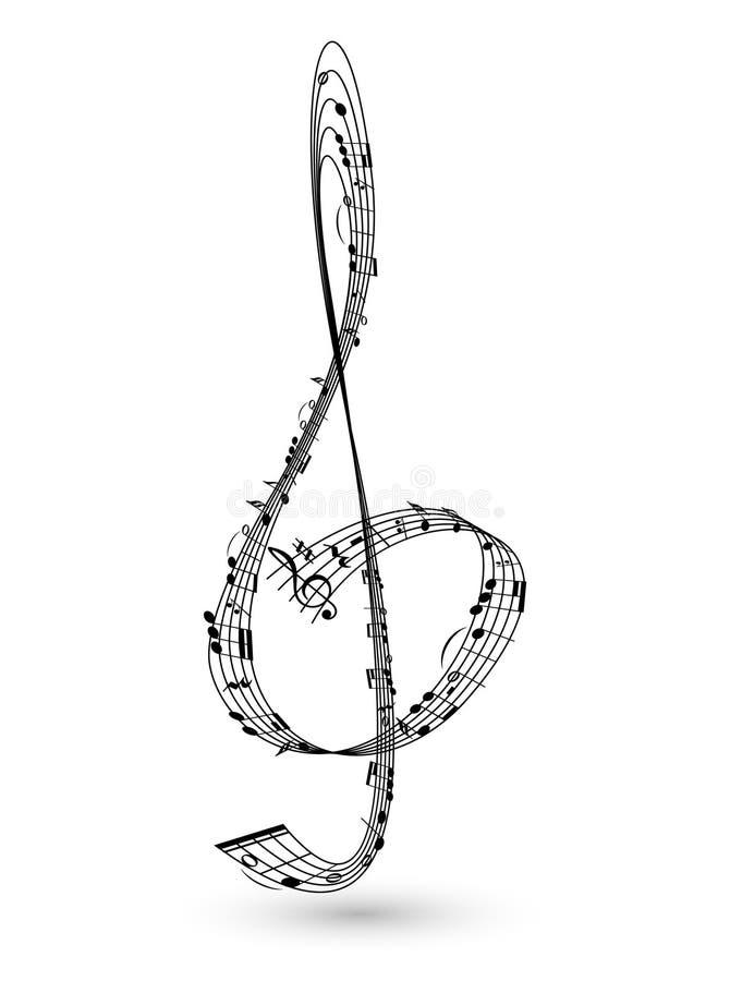 Musikal stiliserad G-klav vektor illustrationer