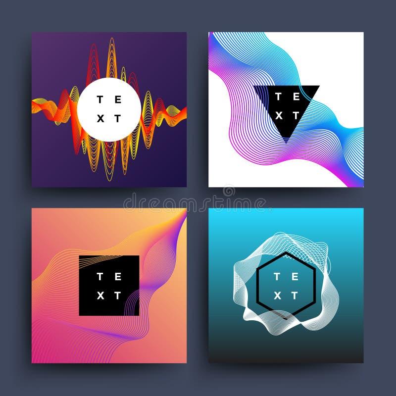 Musikalbum, grafiska bakgrunder för abstrakt begrepp för vektor för färgvågrörelse royaltyfri illustrationer
