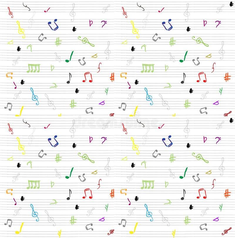 musikalen bemärker den seamless wallpaperen för modellen vektor illustrationer
