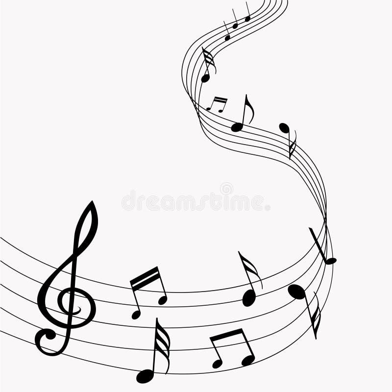 musikalen bemärker vektorn musik Grå färgbakgrund också vektor för coreldrawillustration 10 eps vektor illustrationer