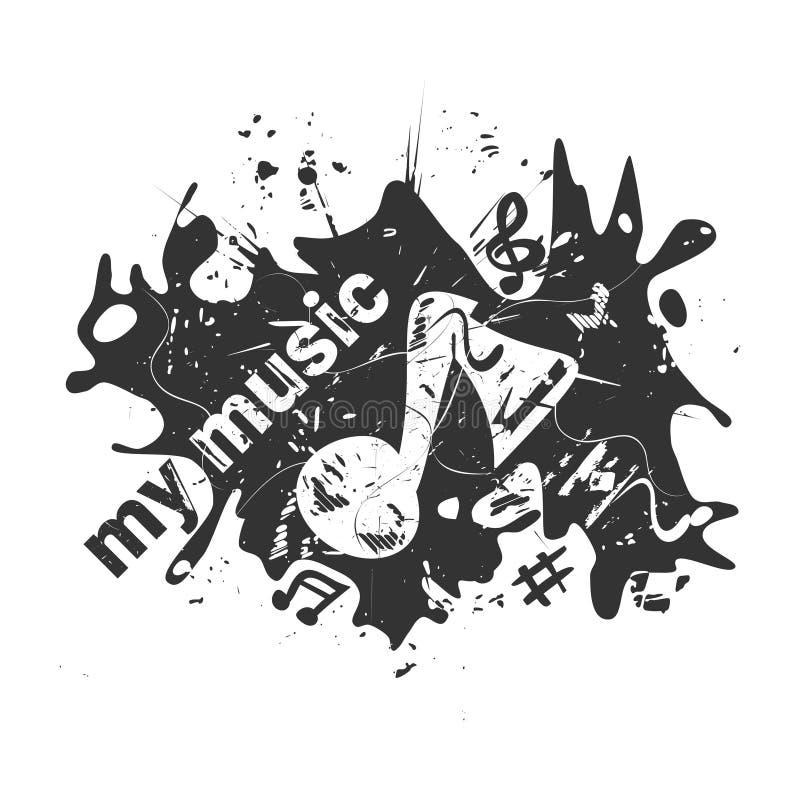 Musikalen noterar Grunge vektorillustration vektor illustrationer