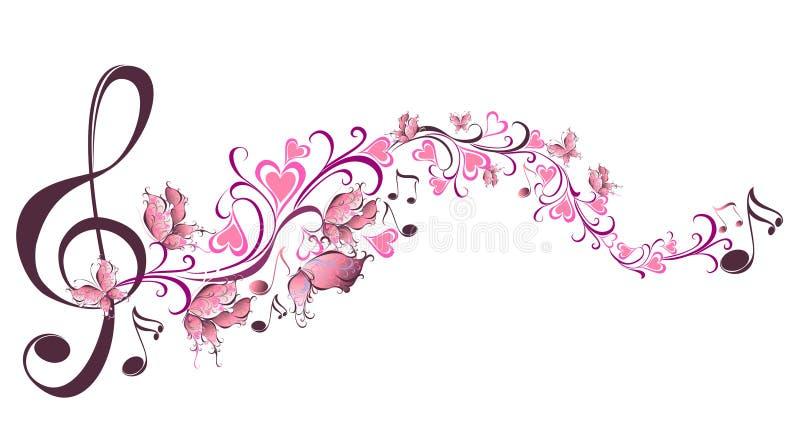 Musikalen noterar med fjärilar royaltyfri illustrationer