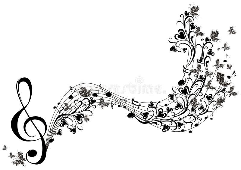 Musikalen noterar med fjärilar stock illustrationer