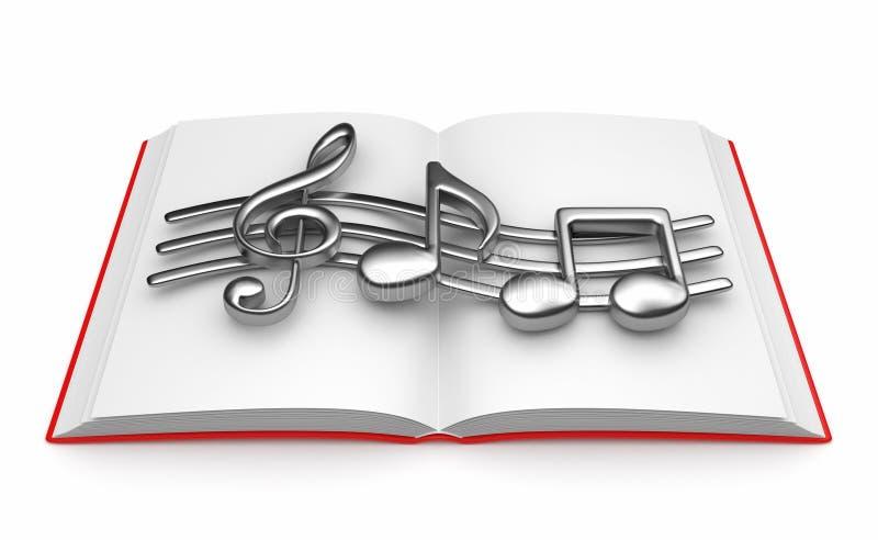 Musikalische Anmerkung über geöffnetes Buch 3D.   lizenzfreie abbildung