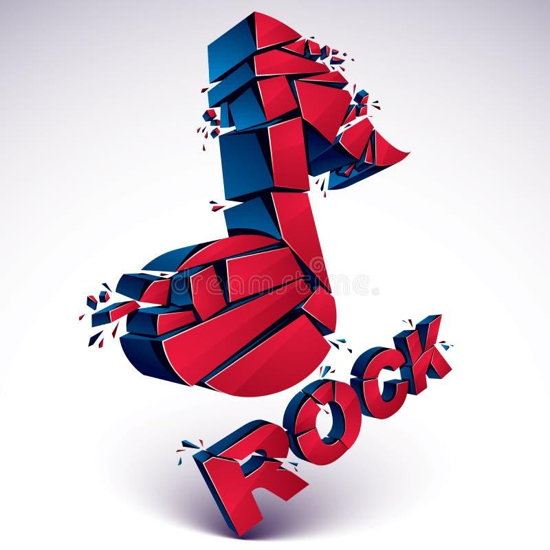 Musikalische Anmerkung des roten Vektors 3d gebrochen in Stücke, Explosionseffekt stock abbildung